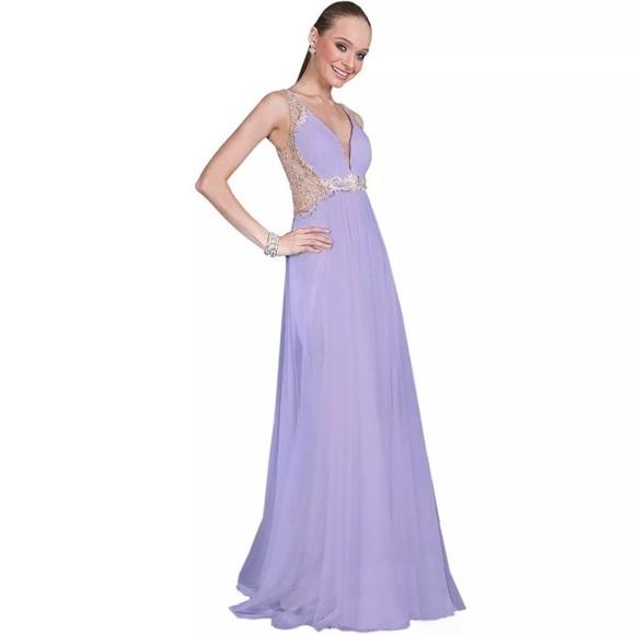 88c42db1d7 Terani Couture lavender illusion prom dress